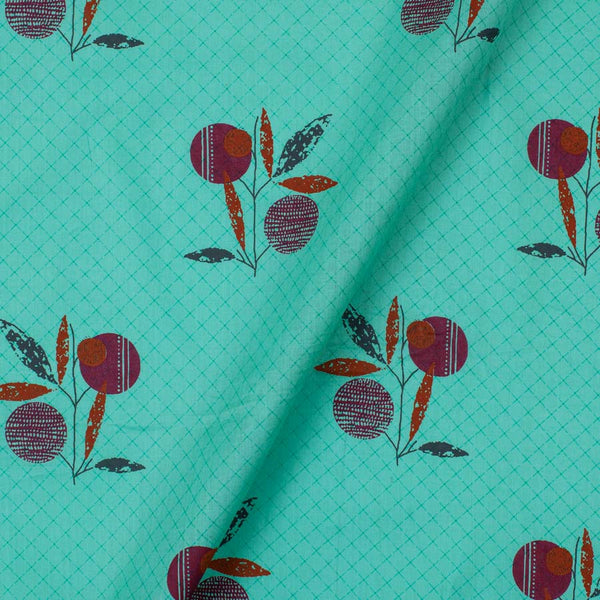Cotton Mint Colour Floral Print 40 Inches Width Fabric