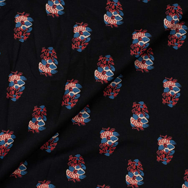 Flex Cotton Black Colour Floral Print 42 Inches Width Fabric