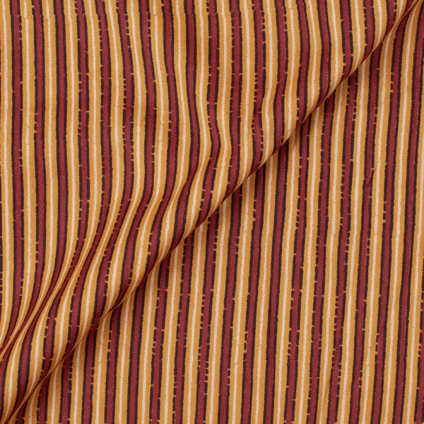 Flex Cotton Mustard Colour Stripes 42 Inches Width Fabric
