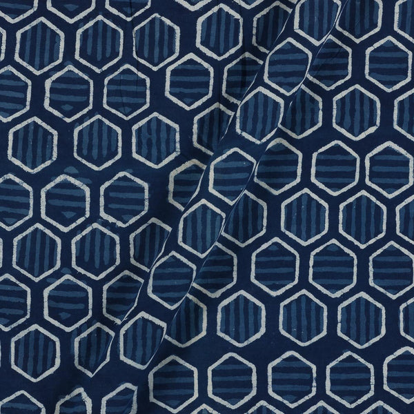 Cotton Indigo Colour Geometric Print  Fabric