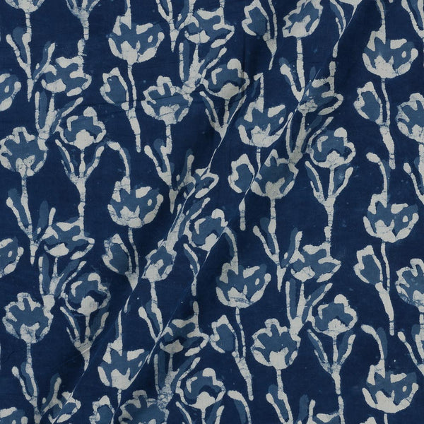 Cotton Indigo Colour Floral Hand Block Print Fabric