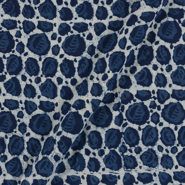 Cotton Indigo Colour Leaves Print  Fabric
