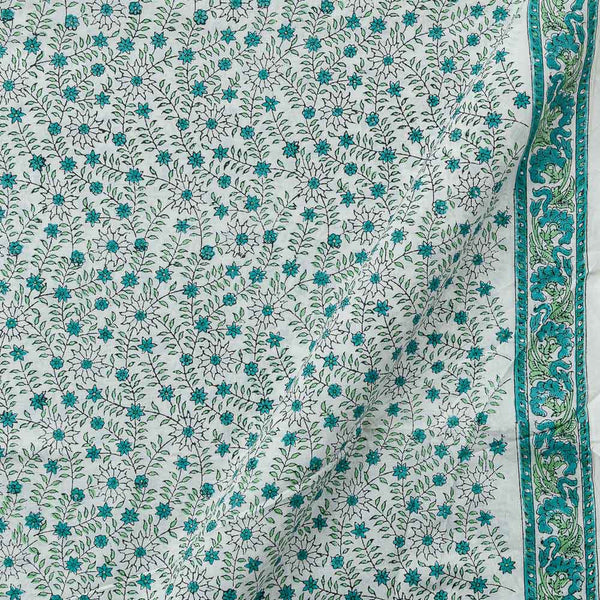 60 x 60 Cotton White Colour 43 inches Width Floral Jaal One Side Border Hand Block Print Fabric