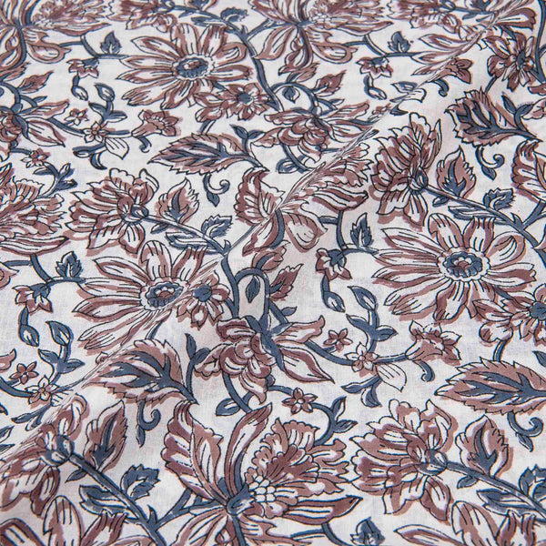 60 x 60 Cotton White Colour 45 inches Width Floral Jaal Hand Block Print Fabric