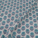 60 x 60 Cotton Smoke Colour Floral Hand Block Print Fabric