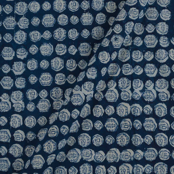Hand Block Double Dabu Cotton Indigo Colour Quirky Print Fabric