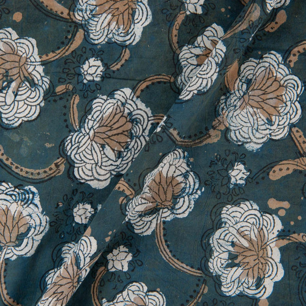 Hand Block Double Dabu Cotton Charcoal Indigo Colour Floral Jaal Print Fabric