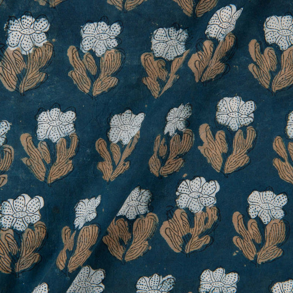 Hand Block Double Dabu Cotton Charcoal Indigo Colour Floral Print Fabric