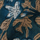 Hand Block Double Dabu Cotton Charcoal Indigo Floral Jaal Print Fabric