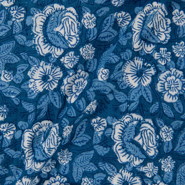Hand Block Double Dabu Cotton Indigo Colour Floral Print Fabric