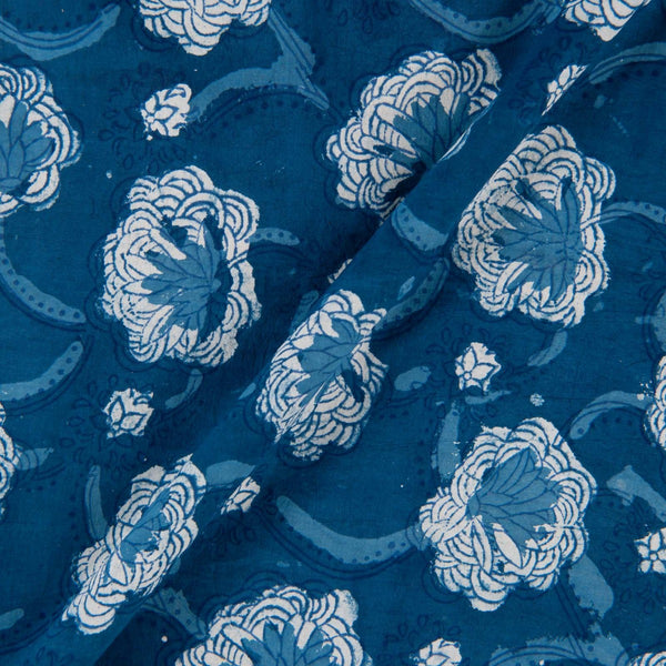 Hand Block Double Dabu Cotton Indigo Colour Floral Jaal Print Fabric