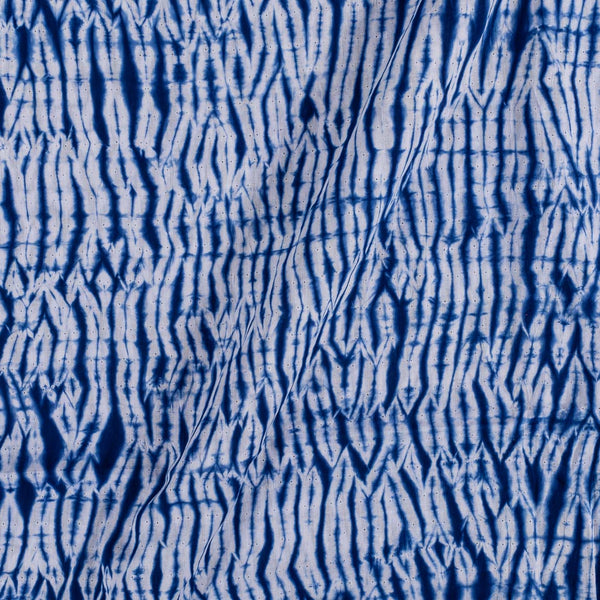 Cotton Shibori White and Indigo Colour 43 inches Width Abstract Pattern Fabric