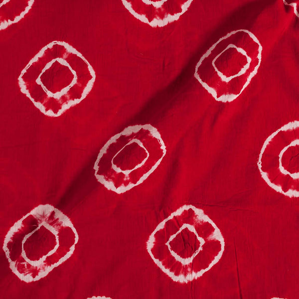Cotton Shibori Red Colour 43 inches Width Geometric Pattern Fabric