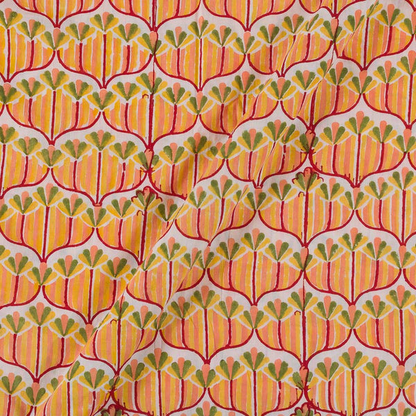 60x 60 Soft Cotton Peach Orange Colour 43 inches Width Floral Jaal Hand Block Print Fabric