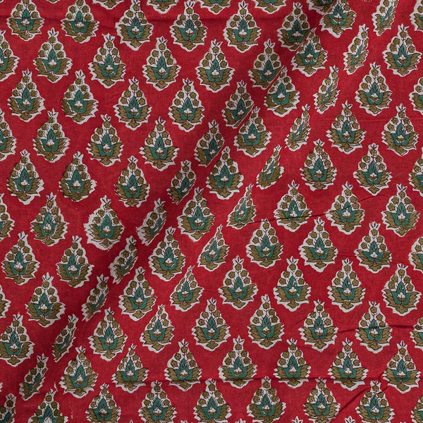 60x 60 Soft Cotton Red Colour 43 inches Width Floral Hand Block Print Fabric