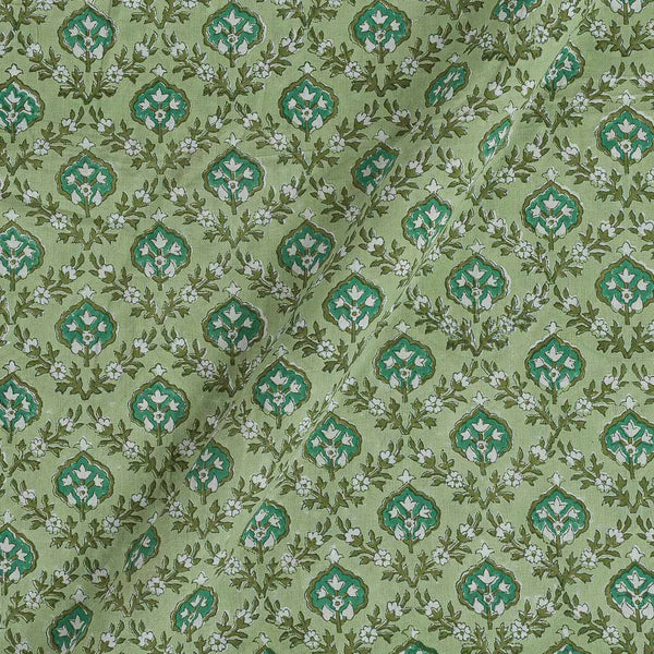 60x 60 Soft Cotton Pista Green Colour 43 inches Width Leaves Hand Block Print Fabric