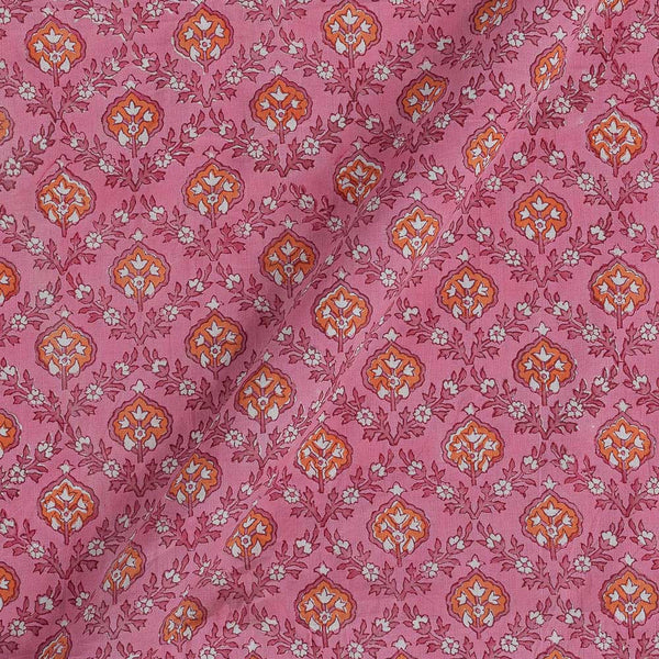 60x 60 Soft Cotton Pink Colour 43 inches Width Leaves Hand Block Print Fabric