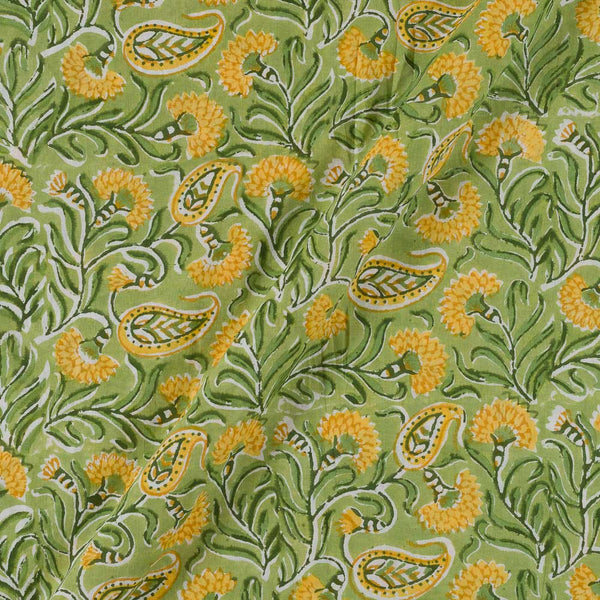 60x 60 Soft Cotton Light Green Colour 43 inches Width Floral Jaal Hand Block Print Fabric
