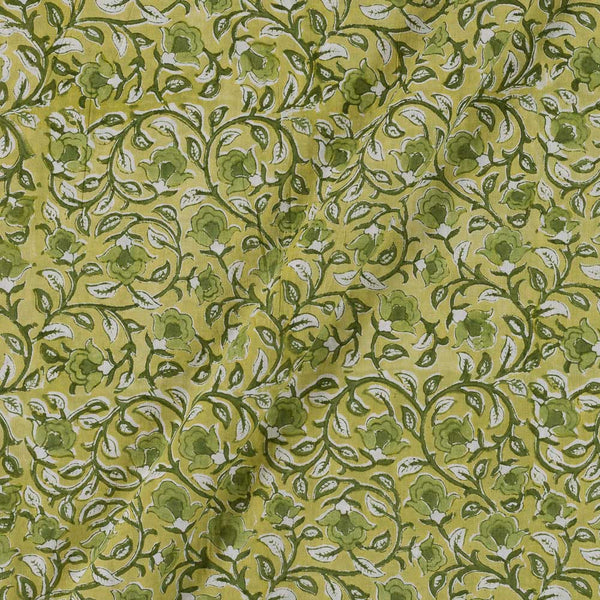 60x 60 Soft Cotton Pale Green Colour 43 inches Width Floral Jaal Hand Block Print Fabric
