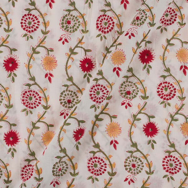 60x 60 Soft Cotton White Colour 43 inches Width Floral Jaal Hand Block Print Fabric