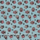 Soft Cotton Cadet Blue Colour 43 inches Width Quirky Print Fabric