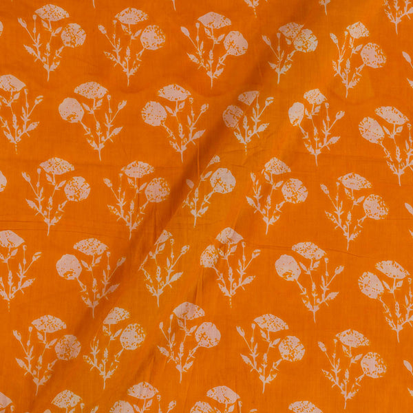 Mal Type Cotton Golden Orange Colour 43 Inches Width Floral Print Fabric