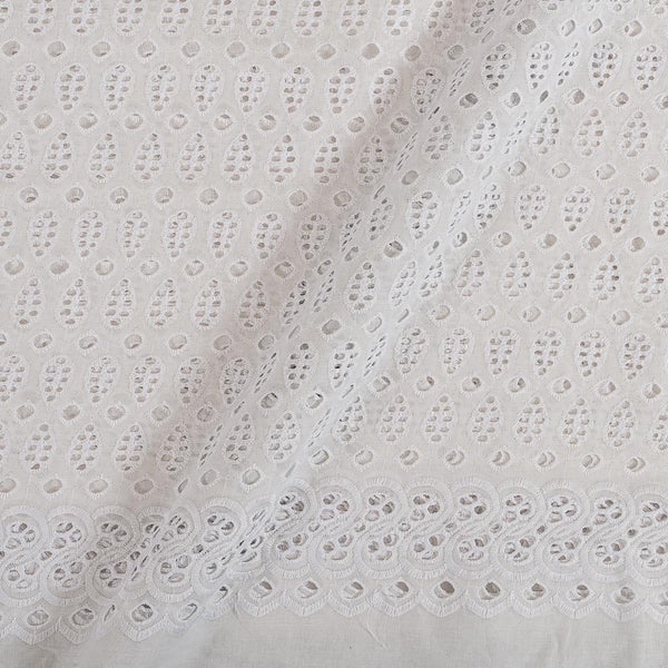 Cotton White Colour Schiffli Cut Work Fabric