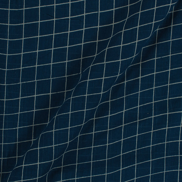 Cotton Mal Navy Blue Colour Checks Block Print Fabric