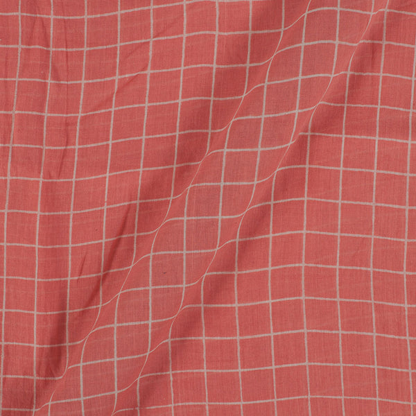 Cotton Mal Peach Colour Checks Block Print Fabric