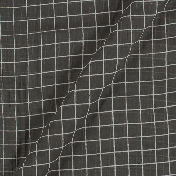 Cotton Mal Carbon Grey Colour Checks Block Print Fabric