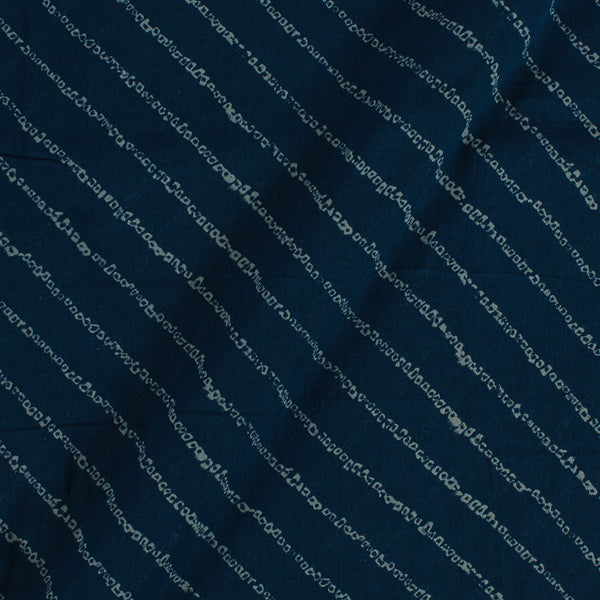 Cotton Mal Navy Blue Colour Geometric Block Print Fabric