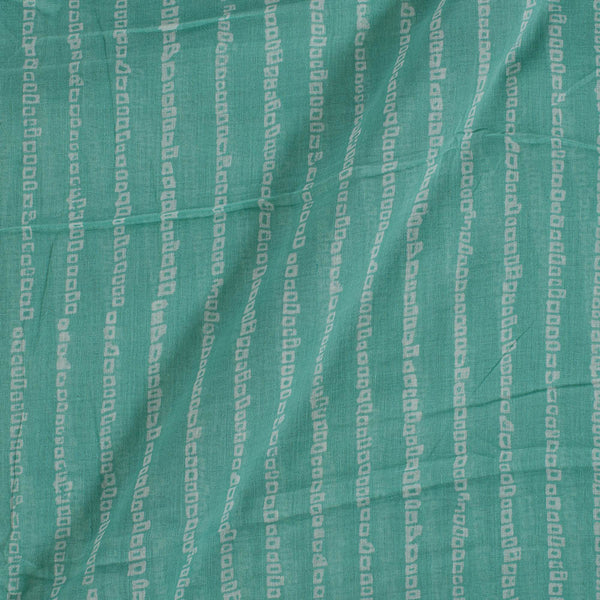 Cotton Mal Mint Colour Geometric Block Print Fabric