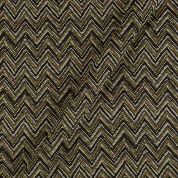 Bagru Cotton Carbon Colour 43 inches Width Chevron Print Fabric