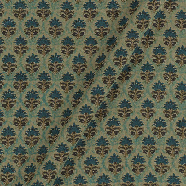 Bagru Cotton Dusty Blue Colour 43 inches Width Floral Print Fabric
