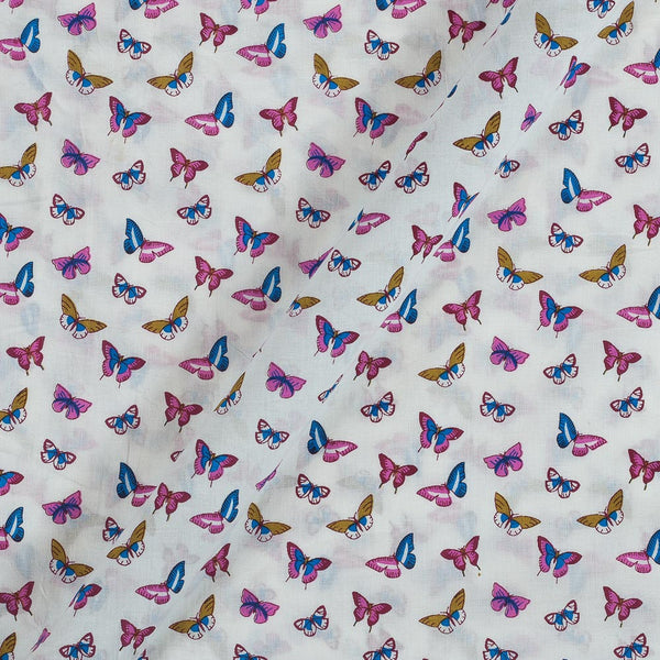 Cotton White Colour 43 Inches Width Quirky Print Fabric
