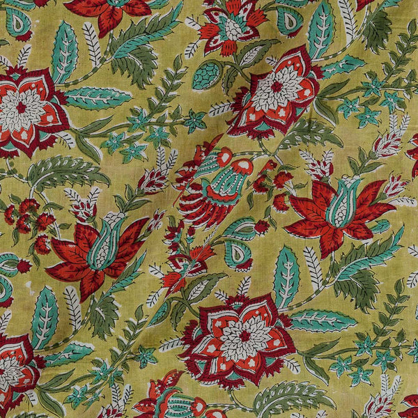Soft Cotton Mustard Colour 43 Inches Width Floral Jaal Block Print Fabric