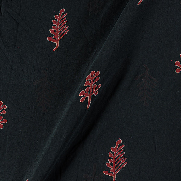 Viscose Georgette Black Colour 42 Inches Width Leaves Block Print Fabric