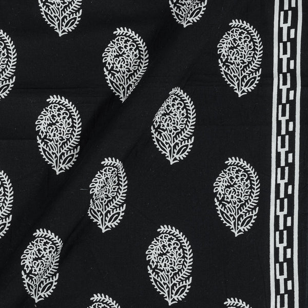 Cotton Black Colour 43 Inches Width Sanganeri Print With One Side Border Fabric