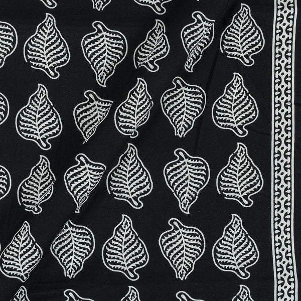 Cotton Black Colour 43 Inches Width Leaves Print With One Side Border Fabric