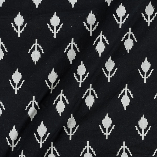 Cotton Black Colour 43 Inches Width Geometric Print With One Side Border Fabric