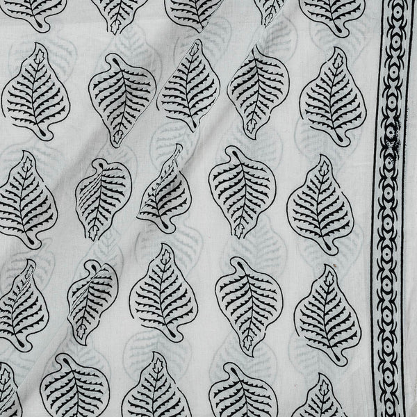 Cotton White Colour 43 Inches Width Leaves Print With One Side Border Fabric