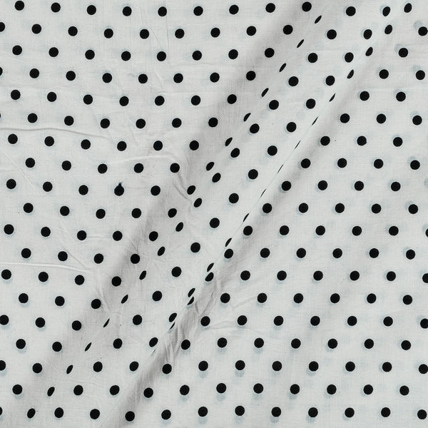 Cotton White Colour 43 Inches Width Polka Print Fabric
