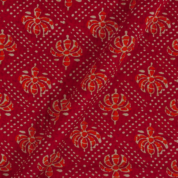 Cotton Satin Red Colour 42 inches Width Floral Print Fabric