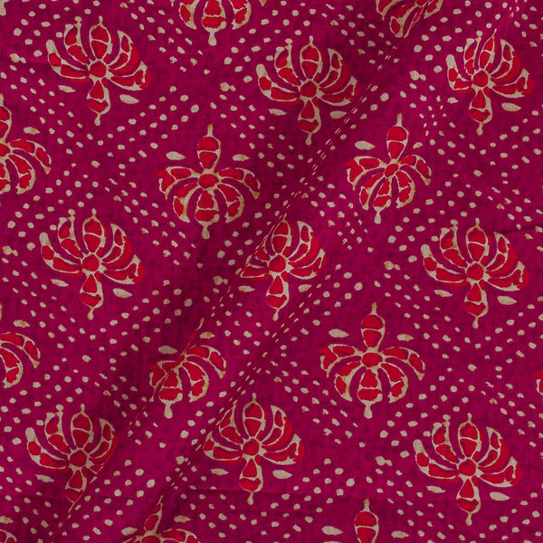Cotton Satin Rani Pink Colour 42 inches Width Floral Print Fabric