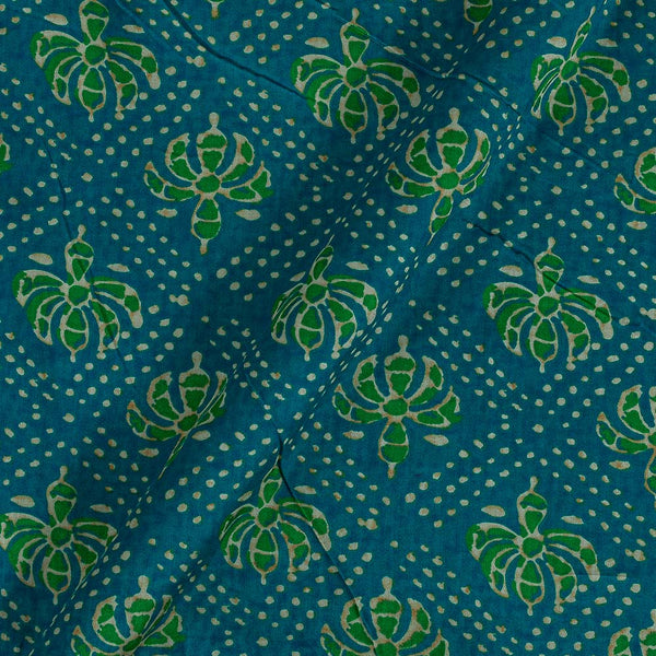 Cotton Satin Firozi Colour 42 inches Width Floral Print Fabric