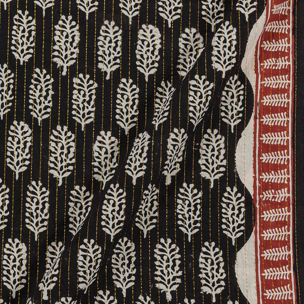 Cotton Black Colour Leaves Print Lurex With One Side Border Fabric