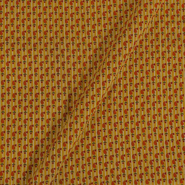 Flex Cotton Mustard Orange Colour 43 Inches Width Floral Block Print Fabric