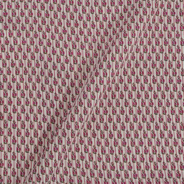 Flex Cotton Petal Pink Colour 43 Inches Width Floral Block Print Fabric