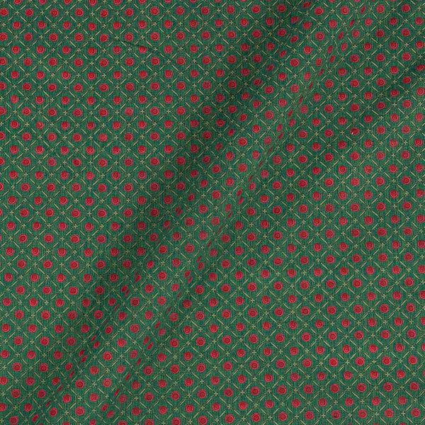 Flex Cotton Green Colour 43 Inches Width Geometric Block Print Fabric