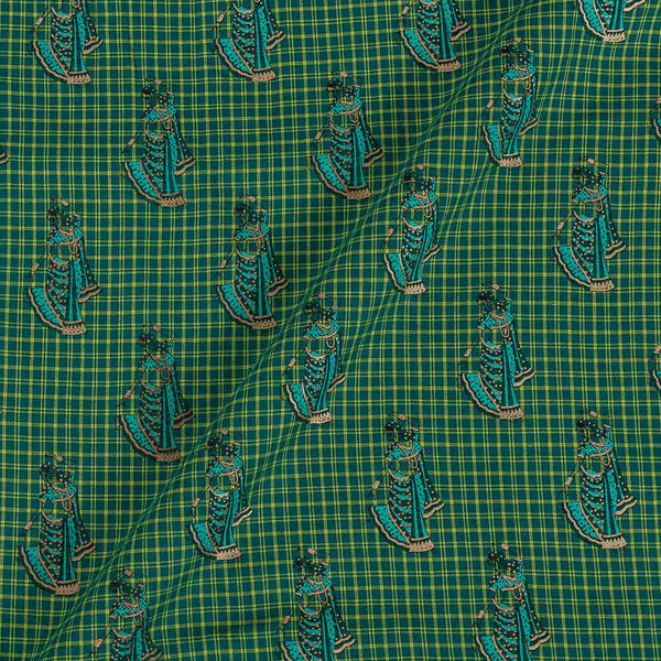 Flex Cotton Green Colour 43 Inches Width Quirky Foil Block Print Fabric